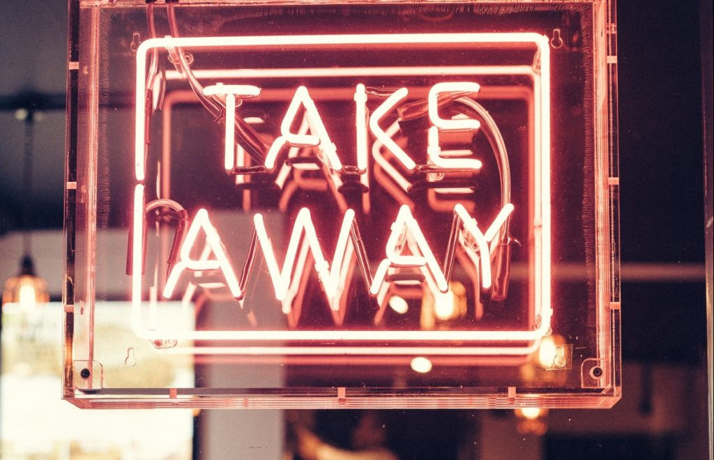 takeaway sign with takeaway insurance