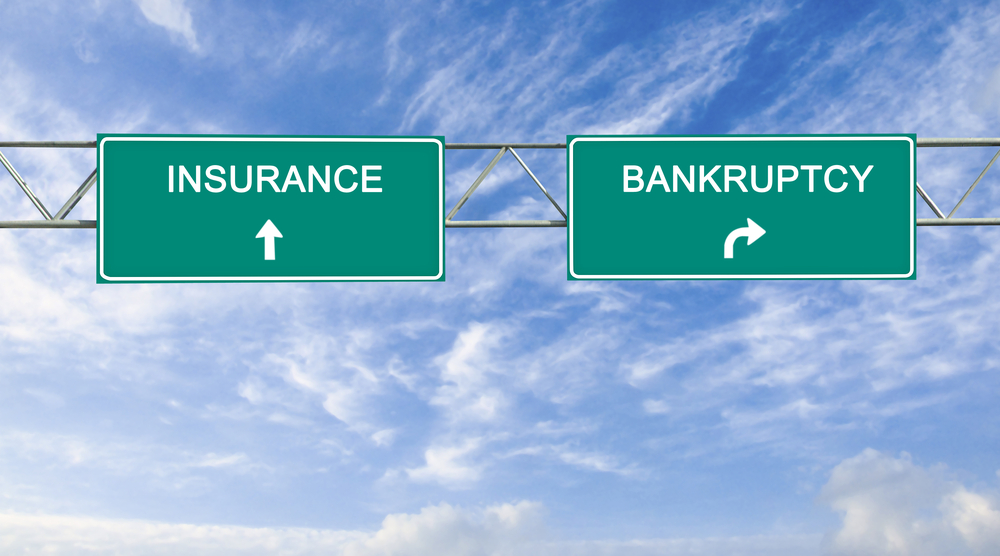 insurance and backruptcy road signs