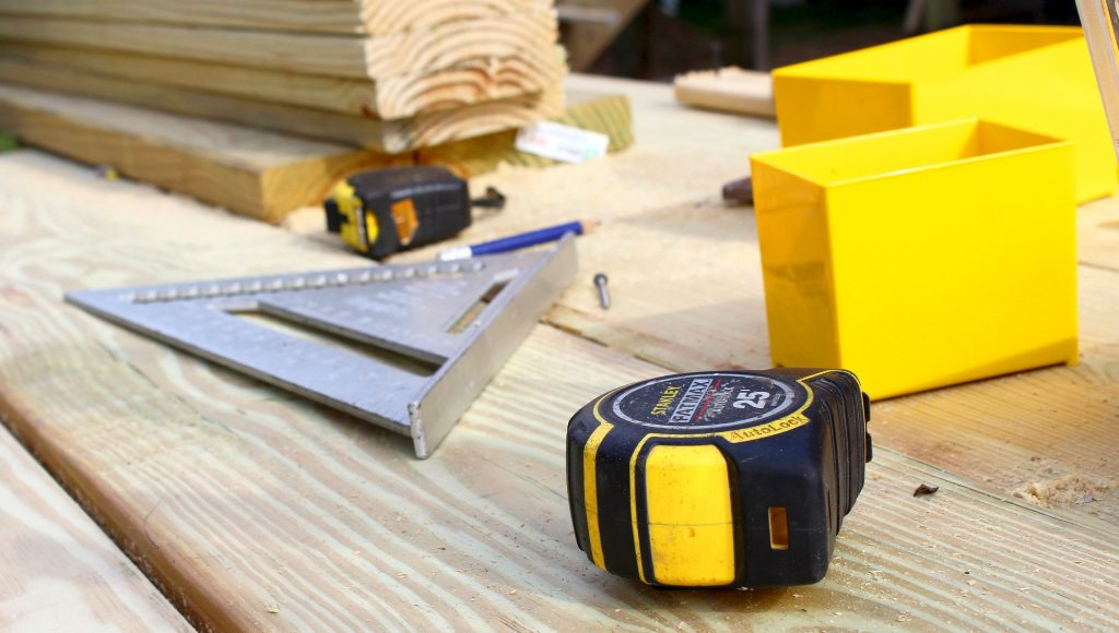 tape measure on building tools construction site